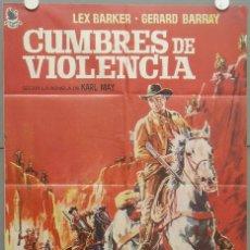 Cine: RH55D CUMBRES DE VIOLENCIA LEX BARKER KARL MAY POSTER ORIGINAL 70X100 DEL ESTRENO. Lote 8008181