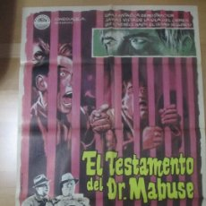 Cine: CARTEL CINE EL TESTAMENTO DEL DR MABUSE GERT FRÖBE SENTA BERGER 1963 C1629. Lote 183096535