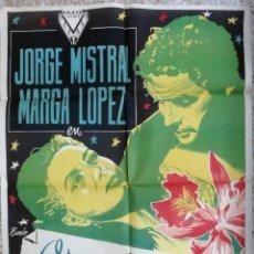Cine: CARTEL CINE ORQUIDEAS PARA MI ESPOSA JORGE MISTRAL MARGA LOPEZ LITOGRAFIA RUMBO ORIGINAL, CC1. Lote 183207717