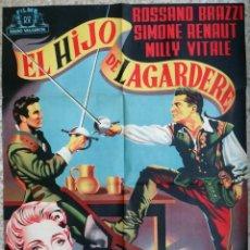 Cine: CARTEL CINE EL HIJO DE LAGARDERE ROSSANO BRAZZI SIMONE RENAULT LITOGRAFIA JUANINO ???? ORIGINAL, CC1. Lote 183207888