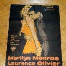 Cine: POSTER ORIGINAL EL PRÍNCIPE Y LA CORISTA MARILYN MONROE LAURENCE OLIVER 75 X 105. Lote 183218551