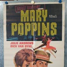 Cine: MARY POPPINS. JULIE ANDREWS, DICK VAN DYKE AÑO 1976. POSTER ORIGINAL. Lote 183297651