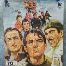 Cine: LOS CAÑONES DE NAVARONE. GREGORY PECK, DAVID NIVEN AÑO 1970. POSTER ORIGINAL. Lote 183298715