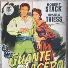 Cine: CARTEL CINE GUANTE DE ACERO ROBERT STACK URSULA THIESS LITOGRAFIA JANO ORIGINAL, CC1. Lote 183402776