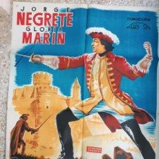 Cine: CARTEL CINE LA ESTOCADA DE LAGARDERE JORGE NEGRETE GLORIA MARIN LITOGRAFIA JOSE MARIA ORIGINAL, CC1. Lote 183403455
