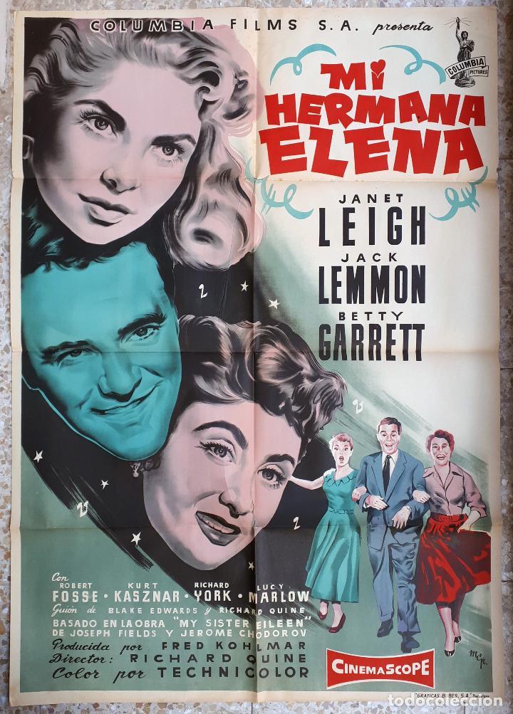 CARTEL CINE MI HERMANA ELENA JANET LEIGH JACK LEMMON BETTY GARRETT LITOGRAFIA MCP ORIGINAL, CC1 (Cine - Posters y Carteles - Musicales)