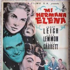 Cine: CARTEL CINE MI HERMANA ELENA JANET LEIGH JACK LEMMON BETTY GARRETT LITOGRAFIA MCP ORIGINAL, CC1. Lote 183403776