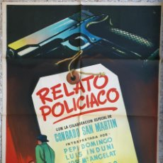 Cine: CARTEL CINE RELATO POLICIACO CONRADO SAN MARTIN JOSE MARCO 70 X 100 CMS LITOGRAFIA MCP ORIGINAL, CC1. Lote 183404557