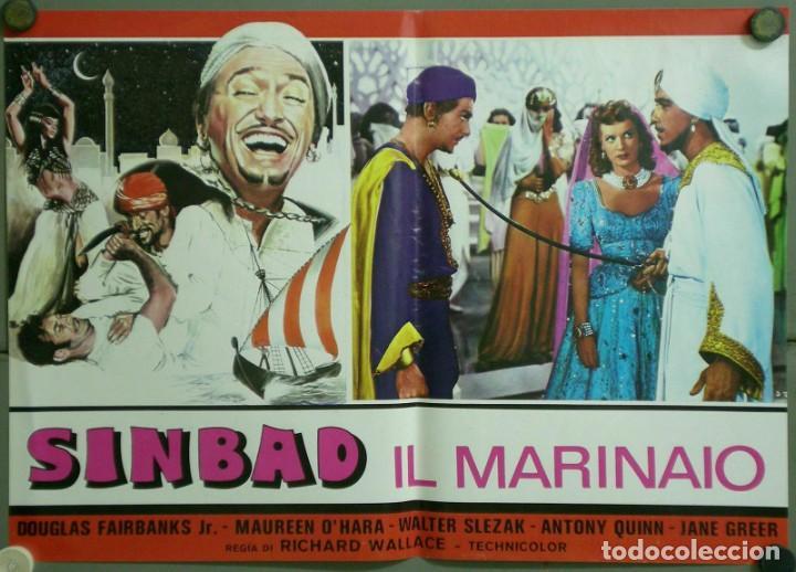 UF52D SIMBAD MARINO MAUREEN O'HARA DOUGLAS FAIRBANKS JR SET 8 POSTERS ORIGINALES ITALIANOS 47X68 (Cine - Posters y Carteles - Aventura)