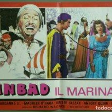 Cine: UF52D SIMBAD MARINO MAUREEN O'HARA DOUGLAS FAIRBANKS JR SET 8 POSTERS ORIGINALES ITALIANOS 47X68. Lote 183441593