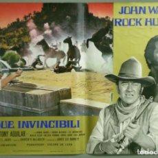 Cine: UF43D LOS INDESTRUCTIBLES JOHN WAYNE ROCK HUDSON SET 8 POSTERS ORIGINALES ITALIANOS 47X68. Lote 183441998