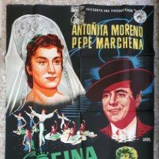 Cine: CARTEL CINE LA REINA MORA ANTOÑITA MORENO PEPE MARCHENA LITOGRAFIA JANO ORIGINAL, CC1. Lote 183486276