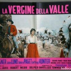Cine: UA65D PLUMA BLANCA WHITE FEATHER DEBRA PAGET ROBERT WAGNER INDIOS SET 8 POSTERS ORIG ITALIANOS 47X68. Lote 183494107
