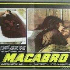 Cine: 2UV04D MACABRO LAMBERTO BAVA SET 6 POSTERS ORIGINALES ITALIANOS 47X68. Lote 183546862