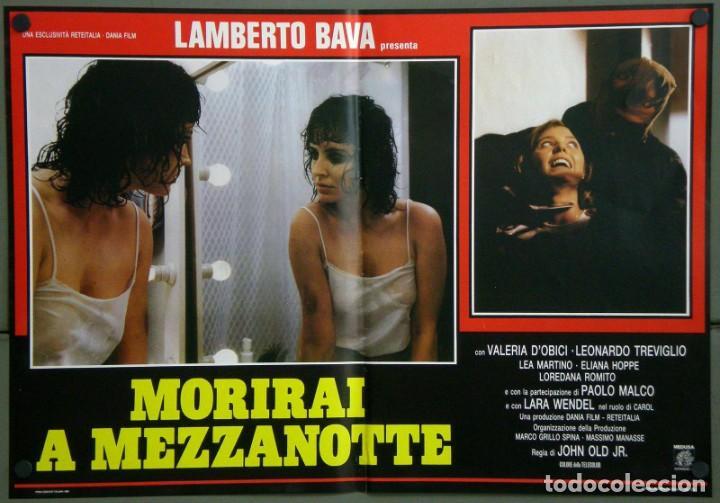 UD39D LAMBERTO BAVA GIALLO MORIRAI A MEZZANOTTE GIALLO SET 6 POSTERS ORIGINALES ITALIANOS 47X68 (Cine - Posters y Carteles - Terror)