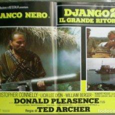 Cine: VB56D EL REGRESO DE UN HEROE DJANGO 2 FRANCO NERO SET 6 POSTERS ORIGINALES ITALIANOS 47X68. Lote 183588412