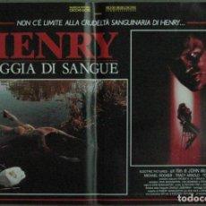 Cine: VF19D HENRY RETRATO DE UN ASESINO JOHN MCNAUGHTON MICHAEL ROOKER SET 6 POSTERS ORIG ITALIANOS 47X68. Lote 183603790