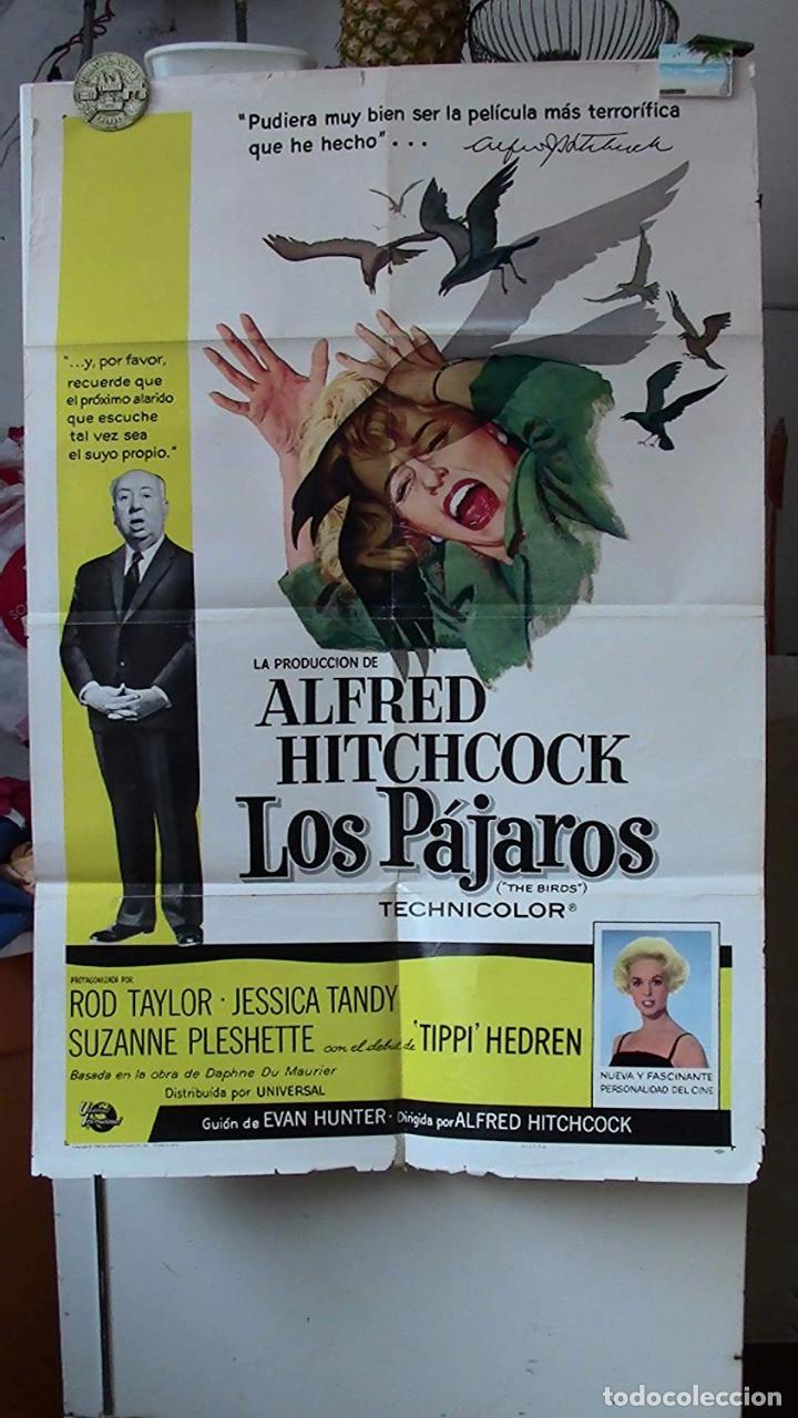 ORIGINAL SPANISH POSTER THE BIRDS LOS PAJAROS ALFRED HITCHCOCK TIPPI HEDREN 1963 (Cine - Posters y Carteles - Suspense)
