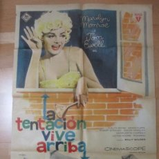 Cine: CARTEL CINE LA TENTACION VIVE ARRIBA, MARILYN MONROE TOM EWELL MAC 1963 C1642. Lote 183826445