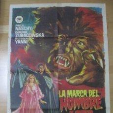 Cine: CARTEL CINE LA MARCA DEL HOMBRE DE LOBO PAUL NASCHY DIANIK ZURACOWSKA JANO 1976 C1650. Lote 183831078