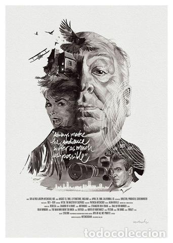 SERIE DIRECTORES CINE HITCHCOCK . LÁMINA CARTEL. 45 X 32 CMS. (Cine - Posters y Carteles - Suspense)