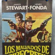 Cine: LOS MALVADOS DE FIRECREEK. HENRY FONDA, JAMES STEWART. AÑO 1969 POSTER ORIGINAL. Lote 184337995