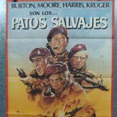 Cinema: PATOS SALVAJES. RICHARD BURTON, ROGER MOORE, RICHARD HARRIS AÑO 1978 POSTER ORIGINAL. Lote 184362068