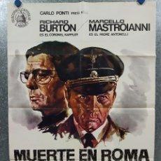 Cine: MUERTE EN ROMA. RICHARD BURTON, MARCELLO MASTROIANNI AÑO 1975 POSTER ORIGINAL. Lote 184362836