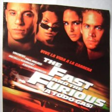 Cine: A TODO GAS, CON VIN DIESEL . POSTER, 68,5 X 98,5 CMS. 2001.. Lote 184891130