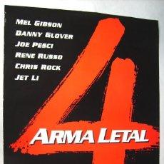 Cine: ARMA LETAL 4, CON MEL GIBSON . POSTER PROMOCIONAL, 67,5 X 96 CMS. 1998.. Lote 184891360