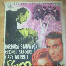 Cine: CARTEL CINE EL UNICO TESTIGO BARBARA STANWYCK GEORGE SANDERS JOSE MARIA LITOGRAFIA C1684. Lote 185708115