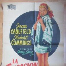 Cine: CARTEL CINE LA SENSACION DE BROADWAY JOAN CAULFIELD ROBERT CUMMINGS JANO C1689. Lote 185709846