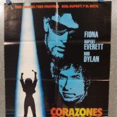 Cine: CORAZONES DE FUEGO. FIONA FLANAGAN, RUPERT EVERETT, BOB DYLAN POSTER ORIGINAL. Lote 269096668