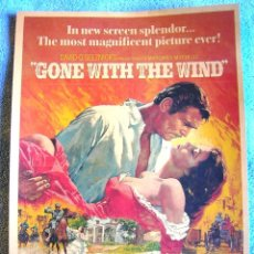 Cine: CARTEL POSTER RETRO CINE - GONE WITH THE WIND - LO QUE EL VIENTO SE LLEVO - MUY BUEN ESTADO.. Lote 186022515