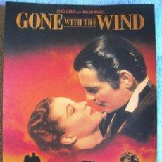 Cine: CARTEL POSTER RETRO CINE - GONE WITH THE WIND - LO QUE EL VIENTO SE LLEVO - MUY BUEN ESTADO.. Lote 186022552