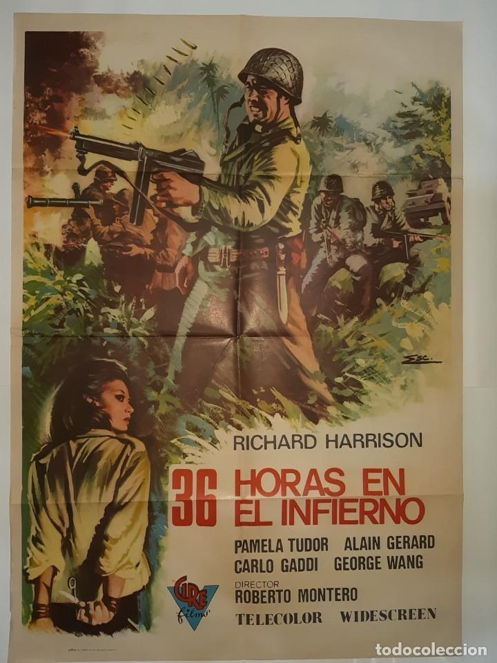 CARTEL CINE 36 HORAS EN EL INFIERNO RICHARD HARRISON 1972 ILUSTRA ESC C405 (Cine - Posters y Carteles - Bélicas)
