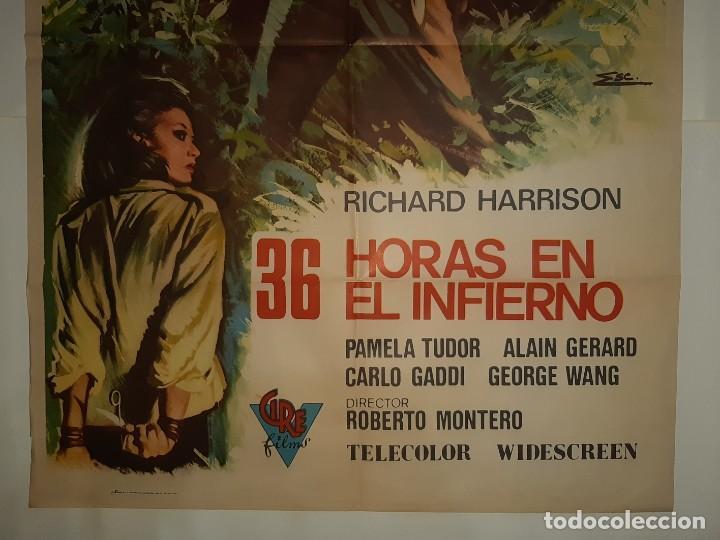 Cine: CARTEL CINE 36 HORAS EN EL INFIERNO RICHARD HARRISON 1972 ILUSTRA ESC C405 - Foto 3 - 186029858