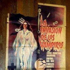 Cine: LA INVASIÓN DE LOS VAMPIROS. POSTER ORIGINAL ARGENTINA SERIGRAFÍA. ROTO. Lote 186080580