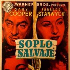 Cinéma: SOPLO SALVAJE RARISIMO WESTERN DISEÑADO POR MCP. Lote 186198946