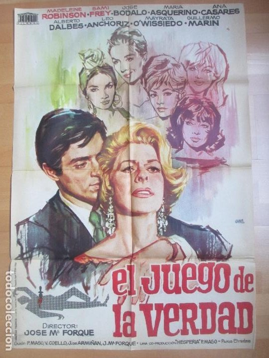 CARTEL CINE EL JUEGO DE LA VERDAD MADELAINE ROBINSON SAMI FREY JANO 1963 C1699 (Cine- Posters y Carteles - Drama)