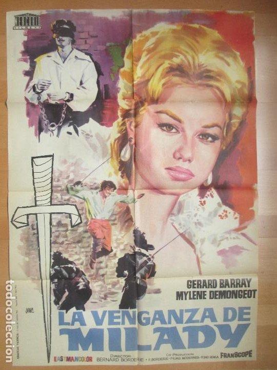 CARTEL CINE LA VENGANZA DE MILADY GERARD BARRAY MYLENE DEMONGEOT JANO 1962 C1701 (Cine - Posters y Carteles - Aventura)