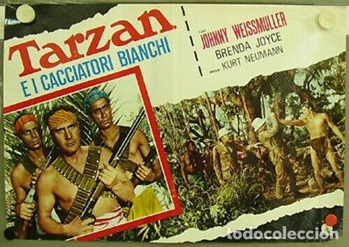 Cine: bk42D TARZAN Y LA CAZADORA JOHNNY WEISSMULLER SET 3 POSTERS ORIGINALES ITALIANOS 47X68 - Foto 3 - 186345225