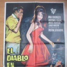 Cine: CARTEL CINE EL DIABLO EN VACACIONES ANA CASARES ANTONIO CASAL ESCOBAR 1962 C1707. Lote 186407975