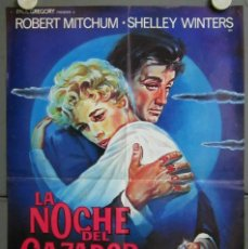 Cine: ZO62D LA NOCHE DEL CAZADOR ROBERT MITCHUM CHARLES LAUGHTON POSTER ORIGINAL 45X65 ESTRENO. Lote 186455390