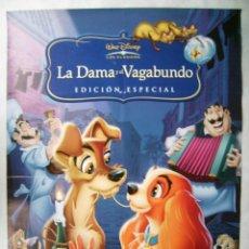 Cine: LA DAMA Y EL VAGABUNDO. POSTER DE VIDEO, 70 X 100 CMS... Lote 187188457