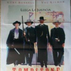 Cine: CARTEL ORIGINAL DE LA PELÍCULA TOMBSTONE (LA LEYENDA DE WYATT EARP). CON KURT RUSELL. Lote 187323610