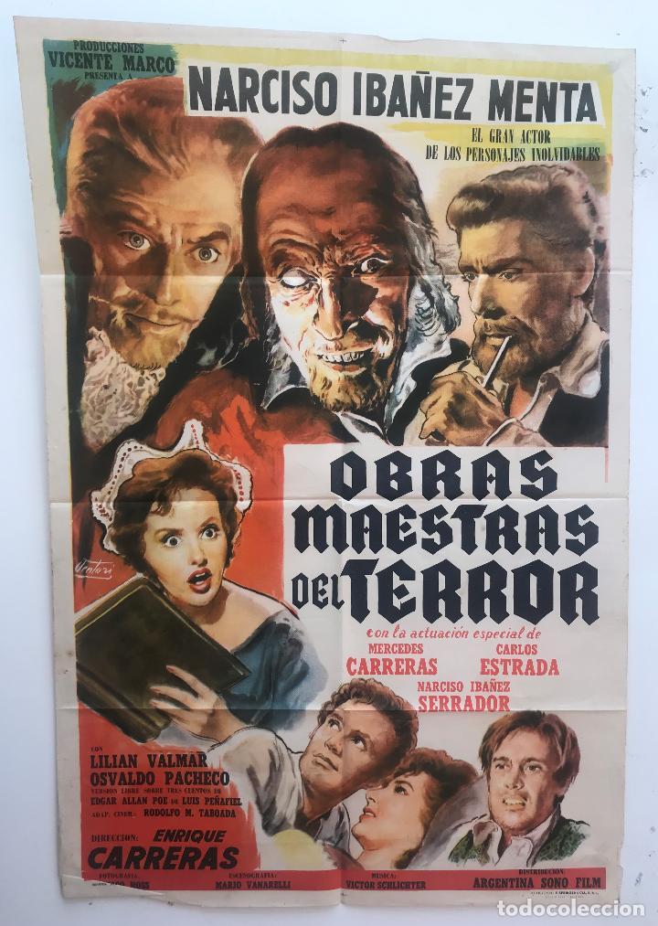 OBRAS MAESTRAS DEL TERROR NARCISO IBAÑEZ MENTA CARLOS ESTRADA SERRADOR CARTEL ORIGINAL ARGENTINO (Cine - Posters y Carteles - Clasico Español)