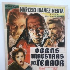 Cine: OBRAS MAESTRAS DEL TERROR NARCISO IBAÑEZ MENTA CARLOS ESTRADA SERRADOR CARTEL ORIGINAL ARGENTINO. Lote 187372791