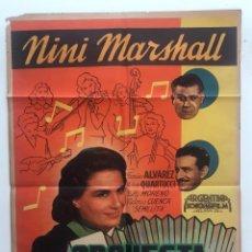 Cine: ORQUESTA DE SEÑORITA NINI MARSHALL PEDRO QUARTUCCI LUIS CESAR AMADORI CARTEL ORIGINAL ARGENTINO. Lote 187372832