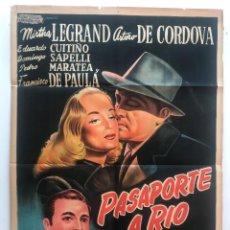 Cine: PASAPORTE A RIO MIRTHA LEGRAND ARTURO DE CORDOVA P. MARATEA DANIEL TINAYRE CARTEL ORIGINAL ARGENTINO. Lote 187372856